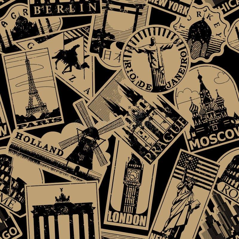 De uitstekende document oriëntatiepuntenreis etiketteert naadloos patroon backgroun stock illustratie