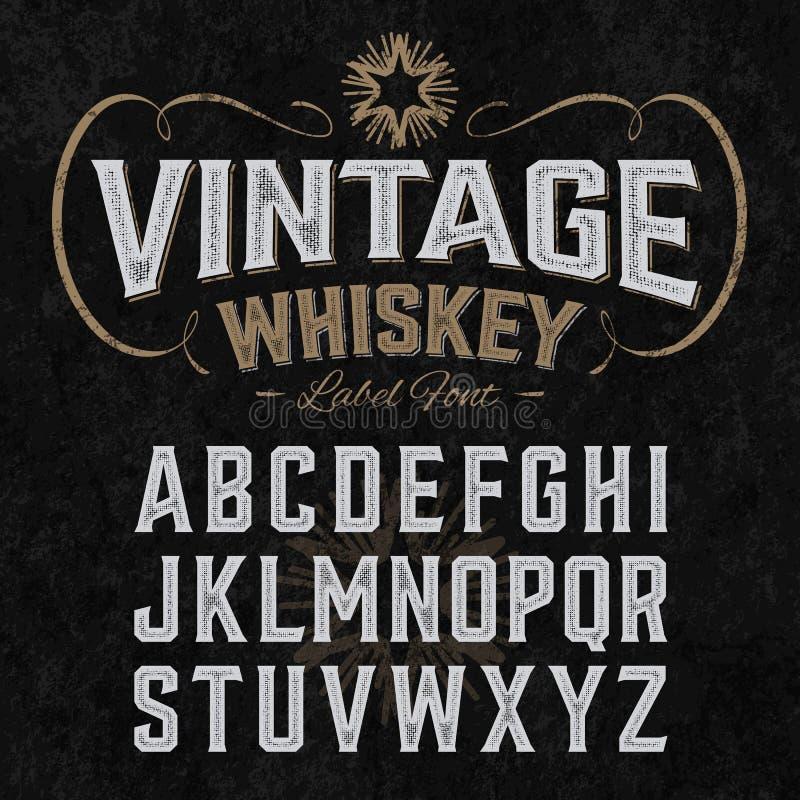 De uitstekende doopvont van het whiskyetiket met steekproefontwerp vector illustratie