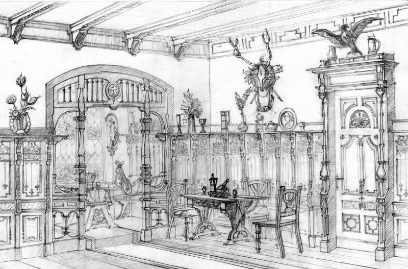 De uitstekende eiken tekening van het eetkamerpotlood vector illustratie