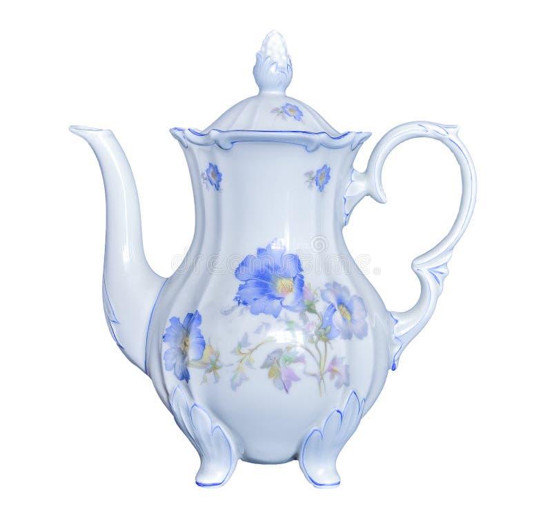 De uitstekende elegante die pot van de porseleinthee op witte achtergrond wordt geïsoleerd stock afbeelding