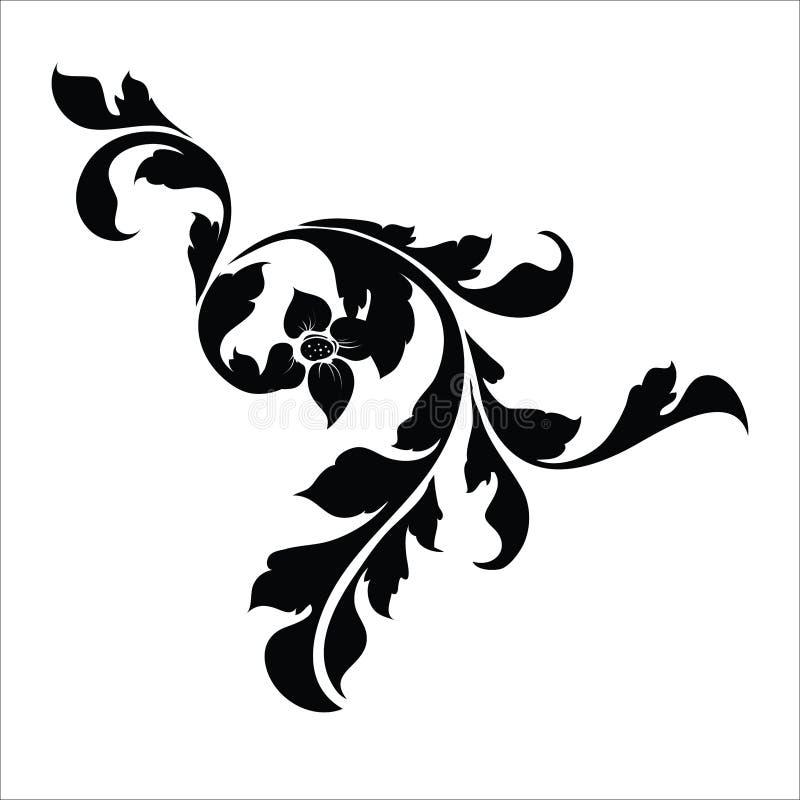 De uitstekende elementen van het bloemontwerp Zwarte krullende takkenvormen die op witte achtergrond worden ge?soleerd Vector ill stock illustratie