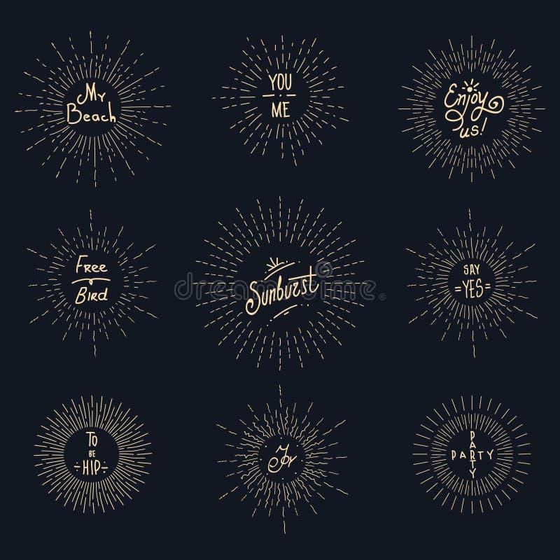 De uitstekende elementen van het zonnestraal hipster embleem royalty-vrije illustratie