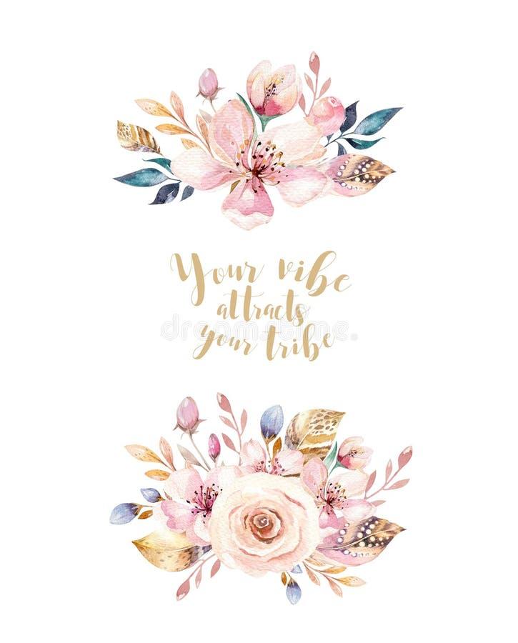 De uitstekende elementen van de waterverfkroon van bloemenaffiche, tuin en wilde bloemen met vogels bloeit, geïsoleerde illustrat stock illustratie
