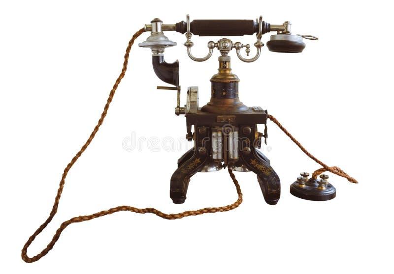 De uitstekende en klassieke telefoon isoleert op wit stock afbeeldingen