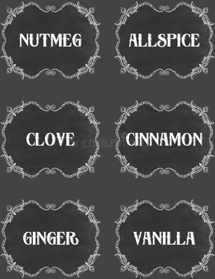De uitstekende Etiketten van het Bordkruid royalty-vrije illustratie