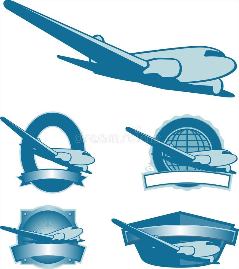 De uitstekende Etiketten van het Vliegtuig stock illustratie