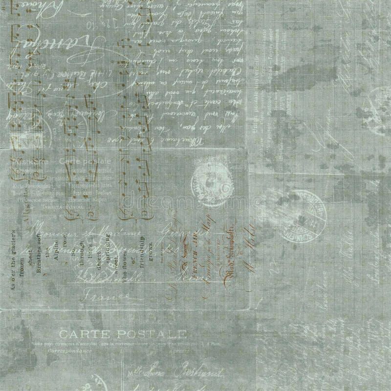 De uitstekende Franse achtergrond van de het manuscriptcollage van de Brief stock foto's