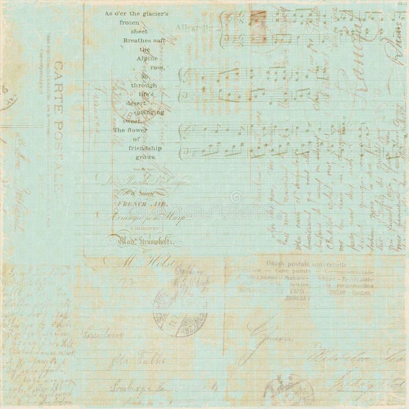 De uitstekende Franse achtergrond van de het manuscriptcollage van de Brief