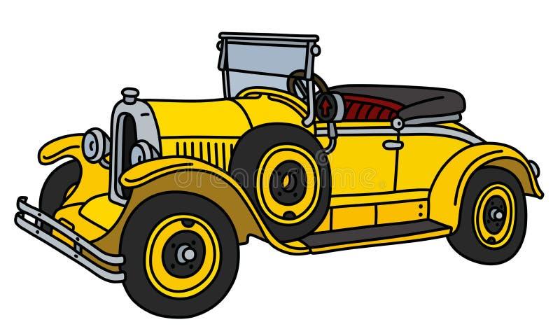 De uitstekende gele open tweepersoonsauto royalty-vrije illustratie