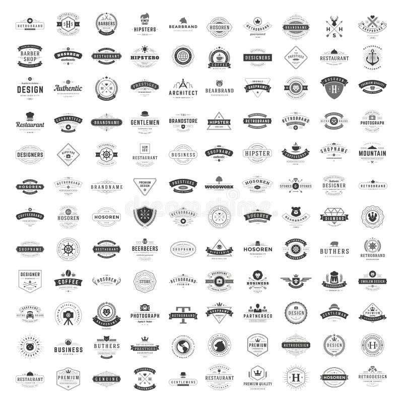 De uitstekende Geplaatste Malplaatjes van het Emblemenontwerp De vectorinzameling van logotypeselementen