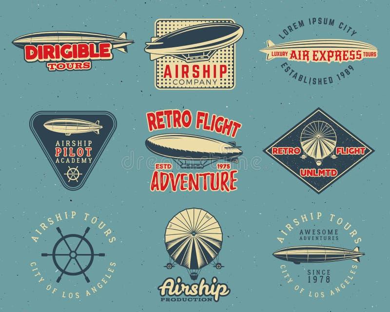 De uitstekende geplaatste ontwerpen van het luchtschipembleem Retro Dirigible-kentekensinzameling Het vectorontwerp van het vlieg royalty-vrije illustratie