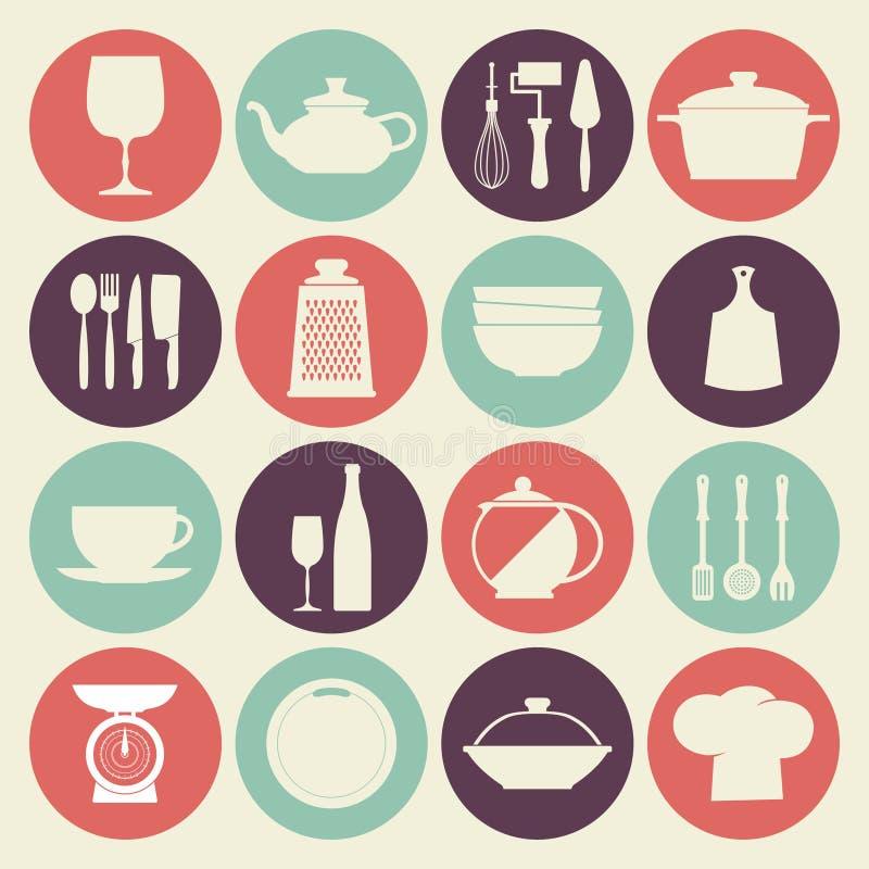 De uitstekende geplaatste pictogrammen van keukenschotels vector illustratie