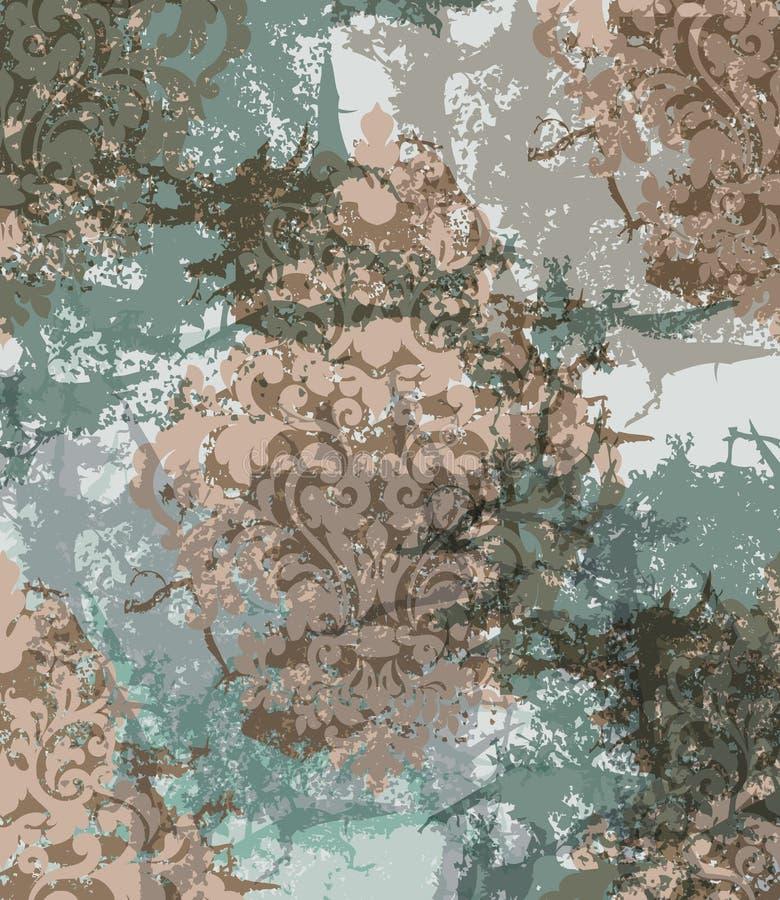 De uitstekende geribbelde Vectorachtergrond van het Damastornament Modieuze patronen met vlekkendecor In kleuren vector illustratie