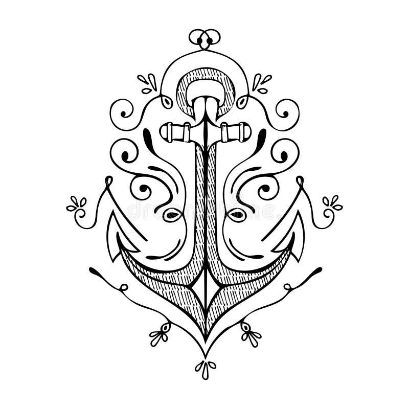 De uitstekende Getrokken Hand bloeit Ankerillustratie royalty-vrije illustratie