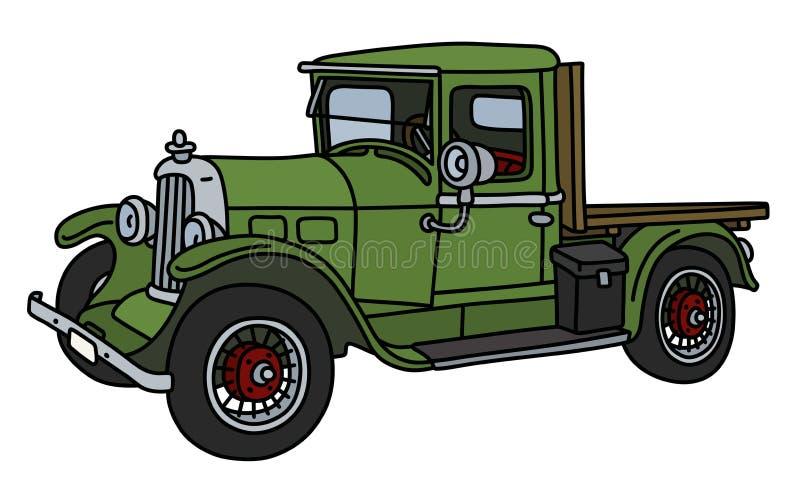 De uitstekende groene vrachtwagen royalty-vrije illustratie