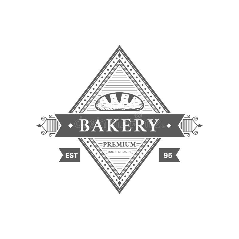 De uitstekende hand die van het de bakkerijembleem van het baguettebrood victorian stijlkenteken trekken stock illustratie