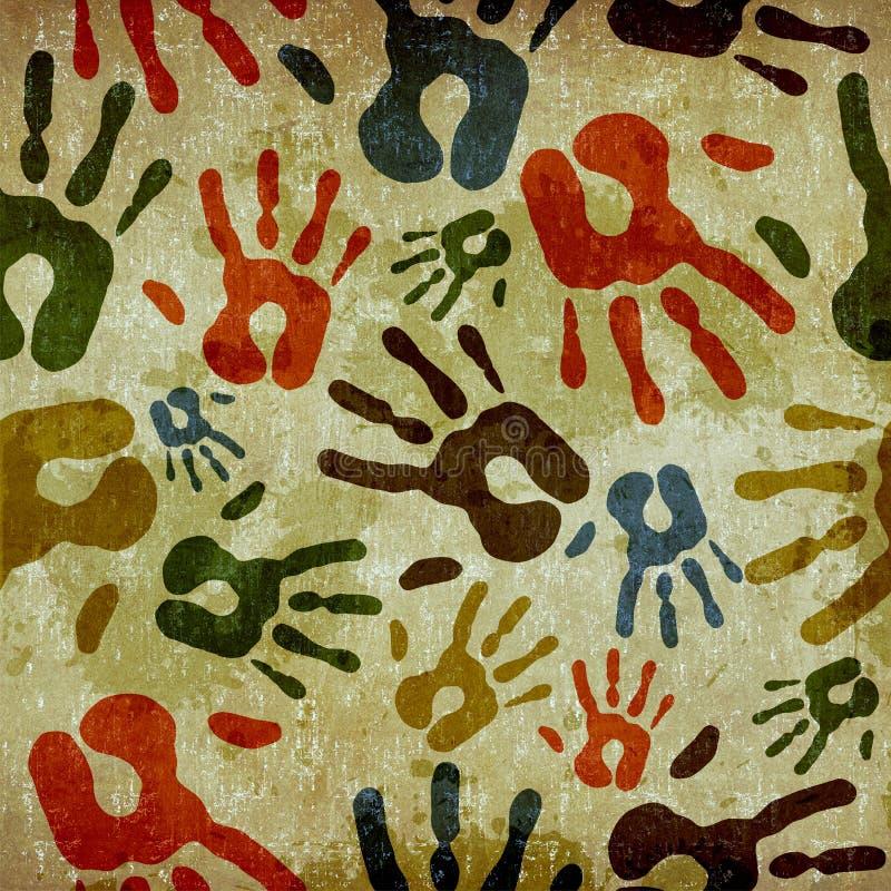 De uitstekende hand drukt patroon af stock illustratie