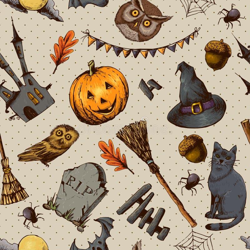 De uitstekende Hand getrokken Naadloze Achtergrond van Halloween royalty-vrije illustratie