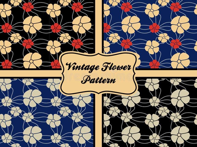 De uitstekende hand trekt bloempatroon naadloos op verschillende achtergrond royalty-vrije illustratie