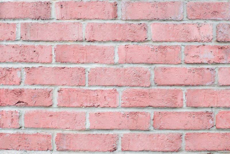 De uitstekende horizontale bakstenen muur van de pastelkleur roze kleur Schone Achtergrond voor ontwerp stock afbeeldingen