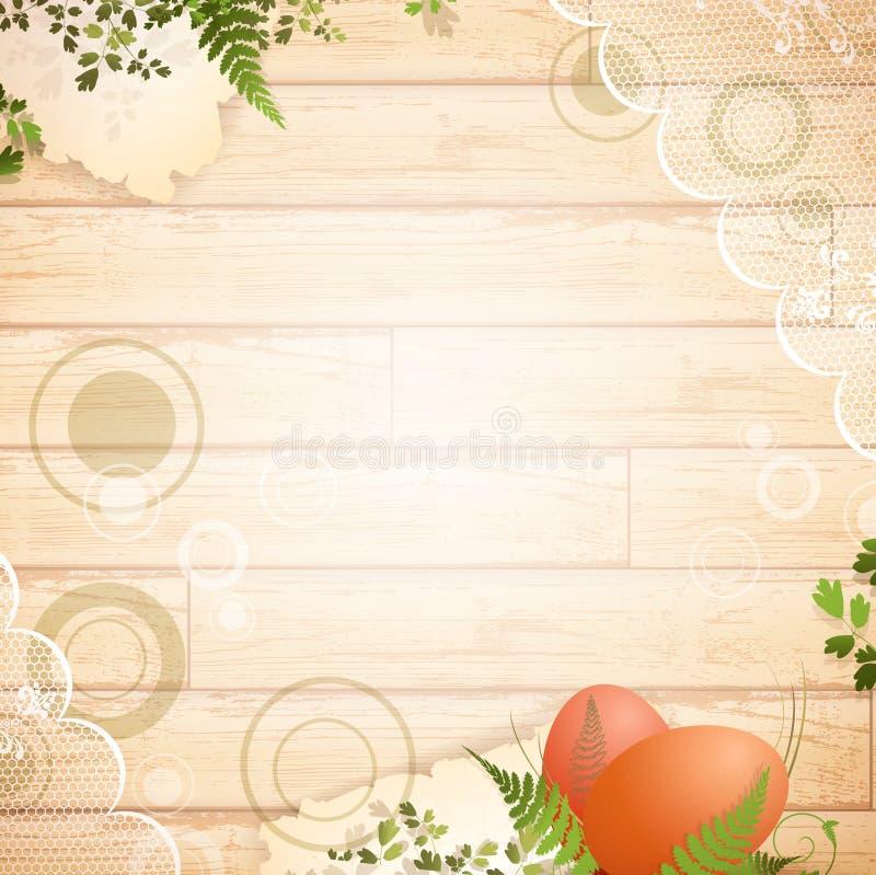 De uitstekende houten achtergrond van Pasen stock illustratie