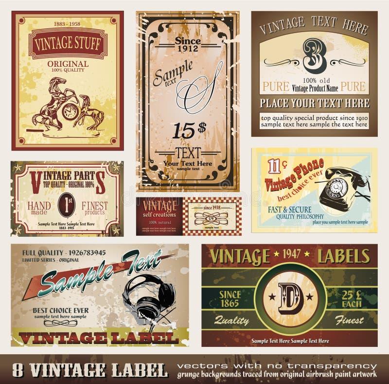 De uitstekende Inzameling van Etiketten royalty-vrije illustratie