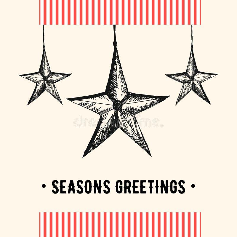 De uitstekende kaart van de Kerstmisgroet Kerstmis en vakantiekaart met Kerstmisdecoratie in retro stijl Vector illustratie stock illustratie