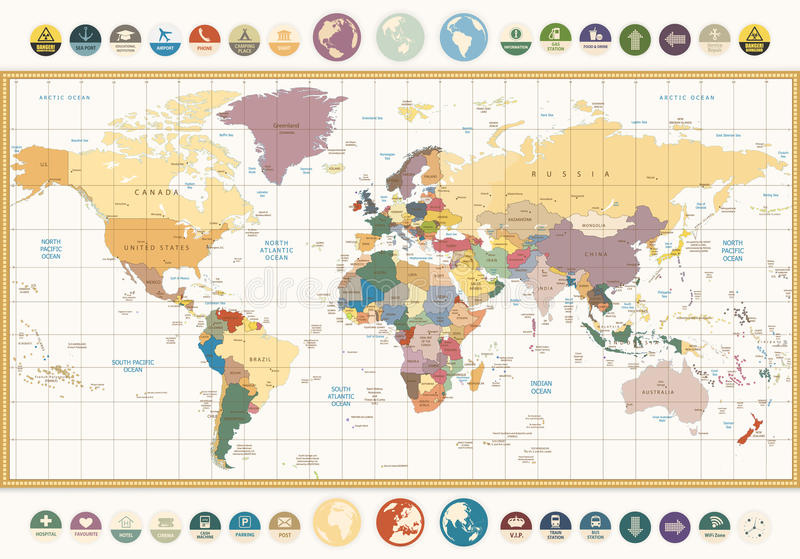 De uitstekende Kaart van de kleuren politieke Wereld met ronde vlakke pictogrammen en glob royalty-vrije illustratie