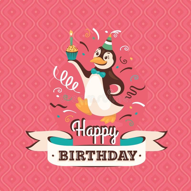 De uitstekende kaart van de verjaardagsgroet met een pinguïn vectorillustratio stock illustratie