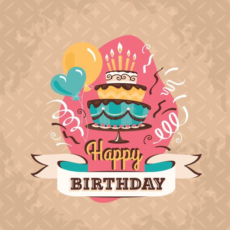 De uitstekende kaart van de verjaardagsgroet met grote cake vectorillustratie stock illustratie