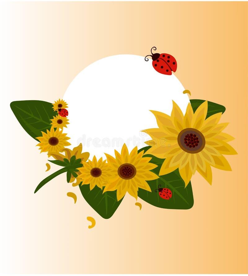 De uitstekende kaart van de Zomerzonnebloemen, ronde decoratie voor huwelijk, citaten, Verjaardag, uitnodigingen, groetkaarten, d royalty-vrije illustratie