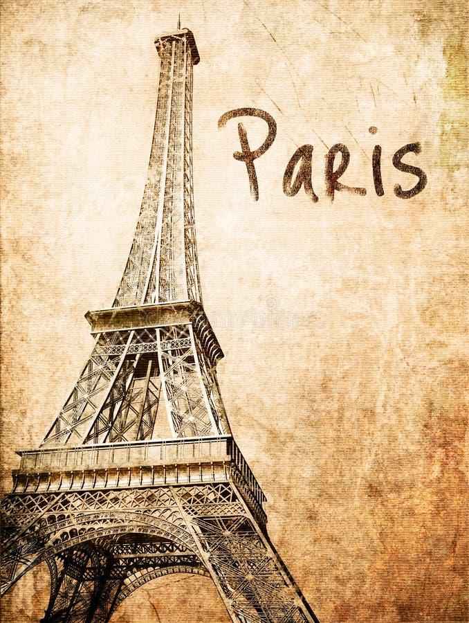 De uitstekende kaart van Eiffel vector illustratie