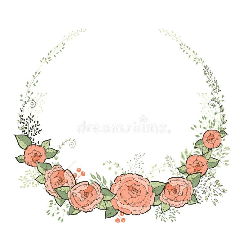 De uitstekende kaart van de huwelijksuitnodiging Elegant Bloemenkader met Mooie Rozen Vector illustratie royalty-vrije illustratie