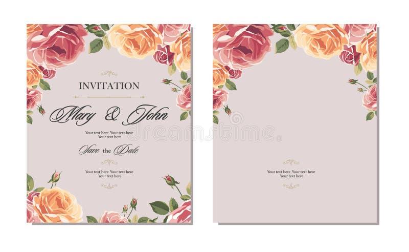 De uitstekende kaart van de huwelijksuitnodiging met rozen en antieke decoratieve elementen vector illustratie