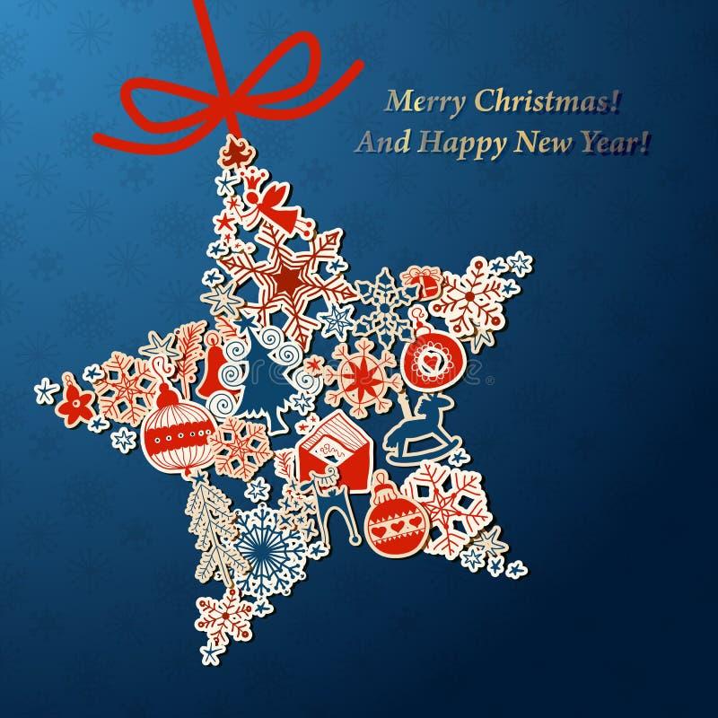 De uitstekende Kaart van de Kerstmisster met Kerstmispictogrammen vector illustratie