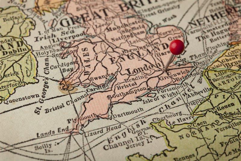 De Uitstekende Kaart Van Londen En Van Engeland Stock Foto