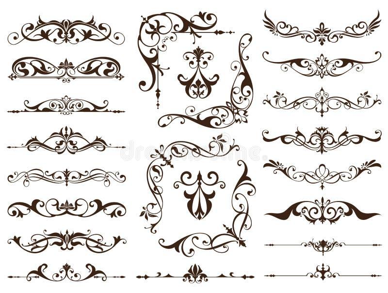 De uitstekende kaders, hoeken, grenzen met gevoelige wervelingen in de decoratie en het ontwerp van Art Nouveau werkt met bloemen stock illustratie