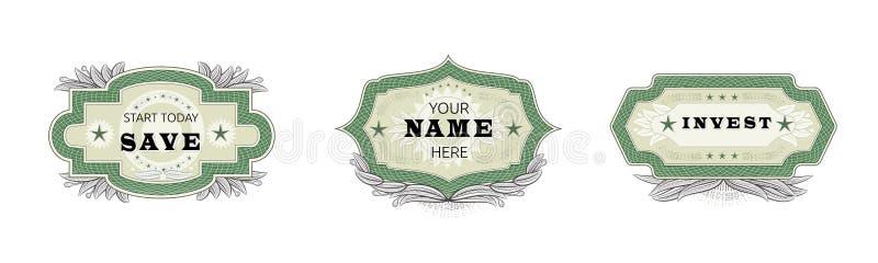 De uitstekende kenteken vector retro sticker of het premieembleem ondertekent illustratie emblematische reeks van markering of em stock illustratie