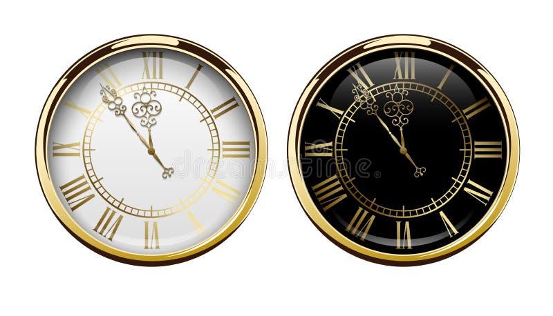 De uitstekende klok van de luxe gouden die muur met roman aantallen op witte achtergrond worden geïsoleerd Realistische zwart-wit vector illustratie