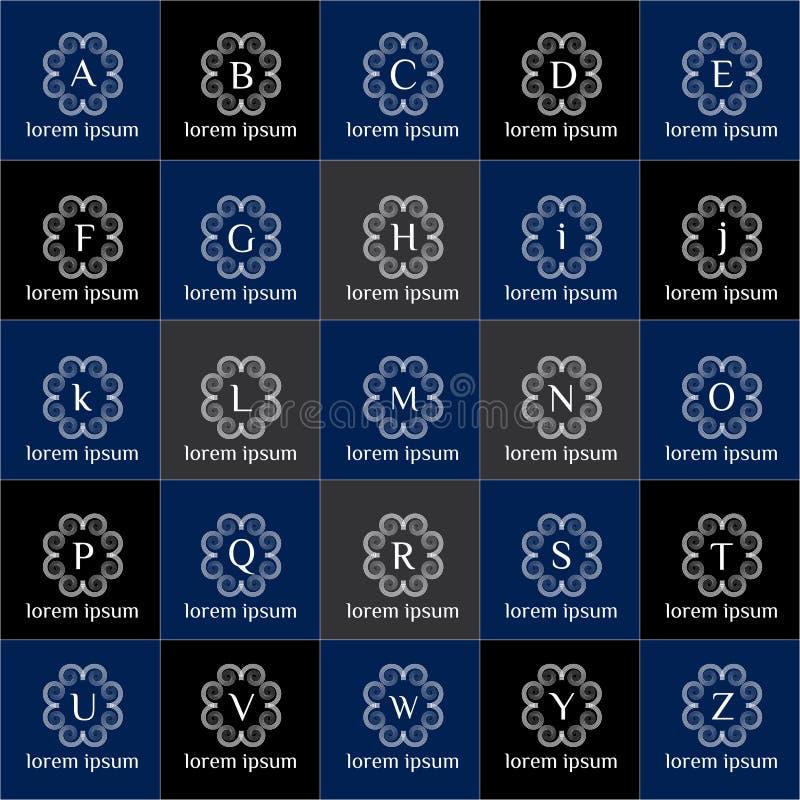 De uitstekende krullende reeks van het embleem vectormalplaatje De modieuze inzameling van het technologiemonogram royalty-vrije illustratie