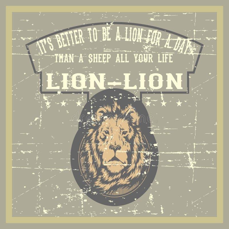 De uitstekende leeuw van de grungestijl met de tekeningsvector van de citaathand vector illustratie