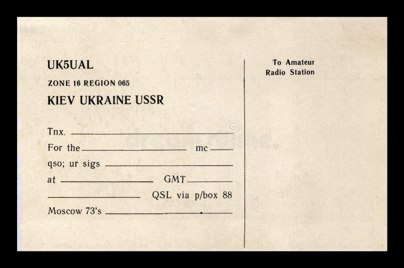 De uitstekende lege radiokaart van QSL, de USSR, de circajaren '80, royalty-vrije stock afbeeldingen