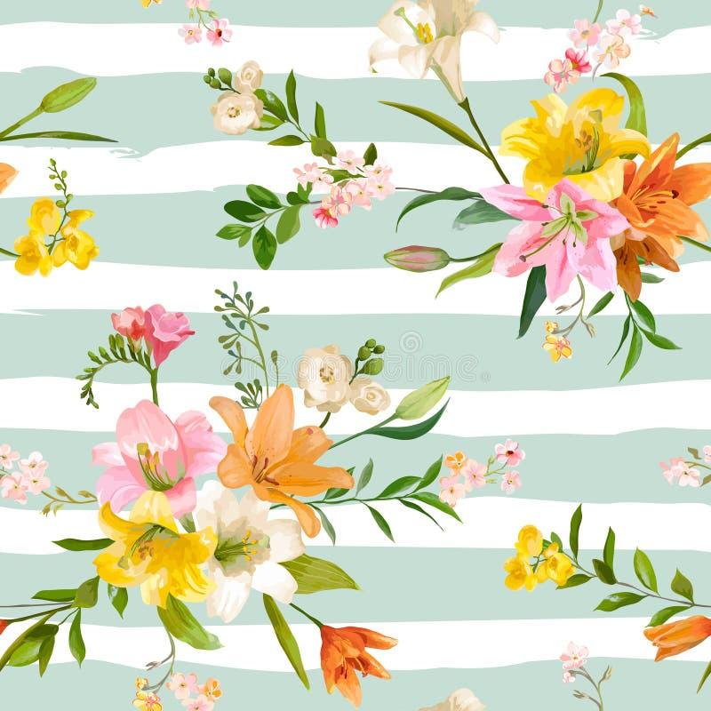 De uitstekende Lente bloeit Achtergrond - Naadloze Bloemenlily pattern stock illustratie