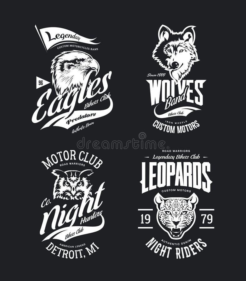 De uitstekende luipaard, wolfs, adelaars en uilreeks van het de t-shirtvector geïsoleerde embleem van de fietsersclub stock illustratie