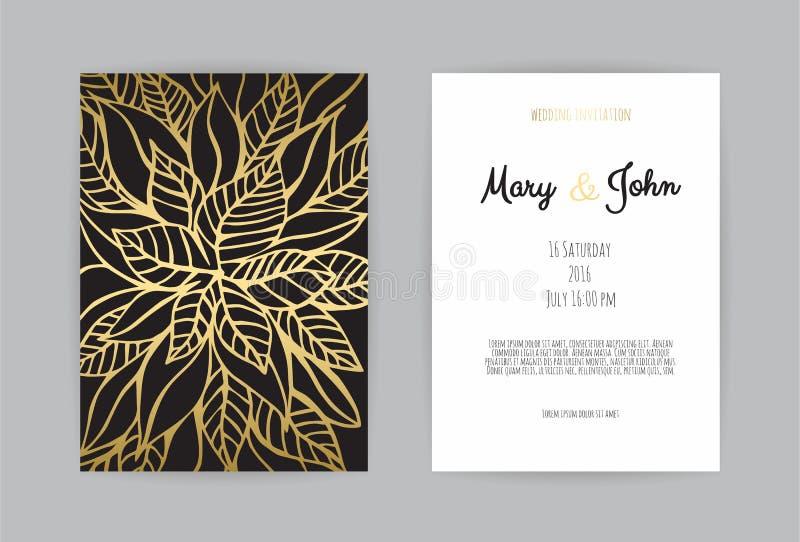 De uitstekende malplaatjes van de huwelijksuitnodiging Dekkingsontwerp met bladgoudenornamenten vector illustratie