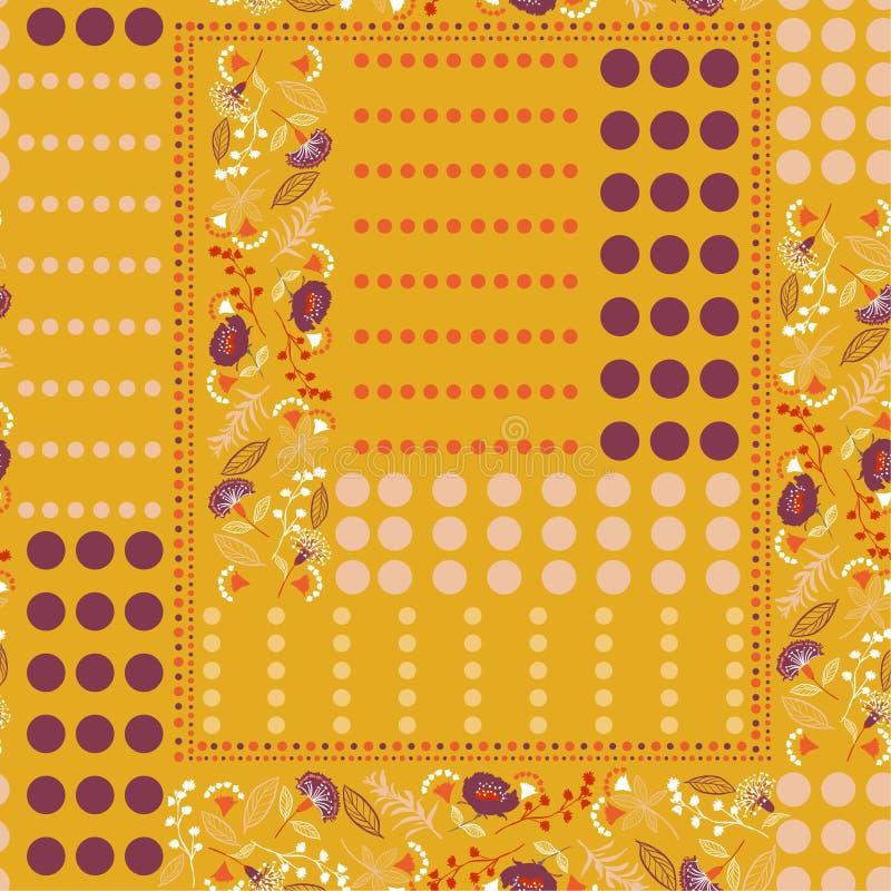 De uitstekende mengeling van het stippenpatroon met bohobloemen in sjaalstijl vector illustratie