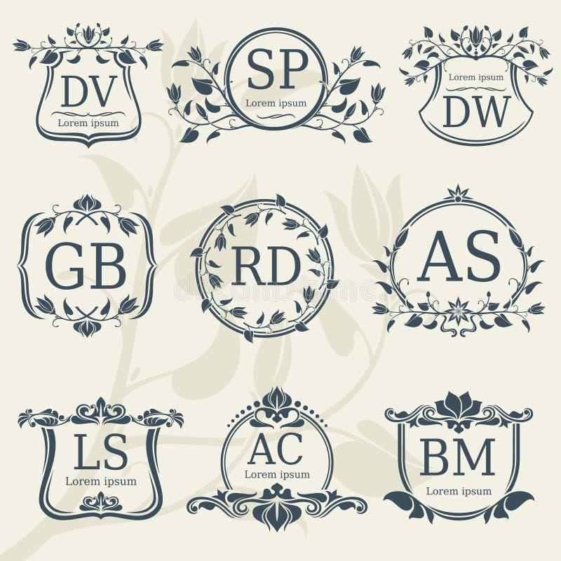 De uitstekende monogrammen van het elegantiehuwelijk met bloemenkaders Vectorvoorraad vector illustratie