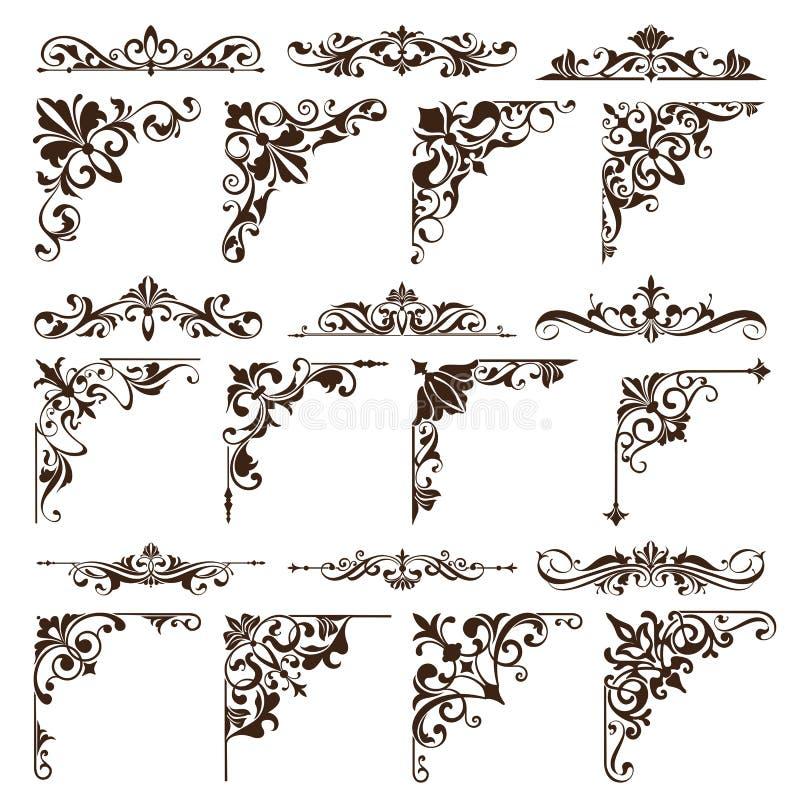 De uitstekende ontwerpelementen siert de randen retro stickers van kaderhoeken en damast vector vastgestelde illustratie vector illustratie