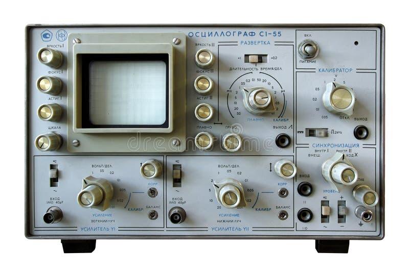 De uitstekende oscilloscoop van het wetenschapsapparaat stock afbeelding