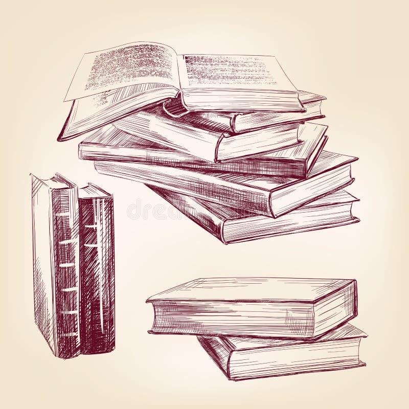 De uitstekende oude boeken overhandigen getrokken reeks royalty-vrije illustratie